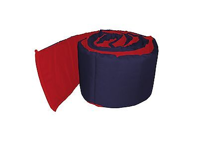 baby doll bedding Solid Reversible Round Crib Bumper Navy/Red