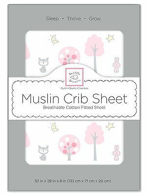 SwaddleDesigns Muslin Fitted Crib Sheet Pink Thicket