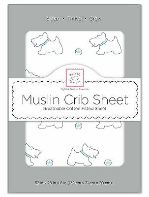 SwaddleDesigns Muslin Fitted Crib Sheet Blue Doggie + Starball