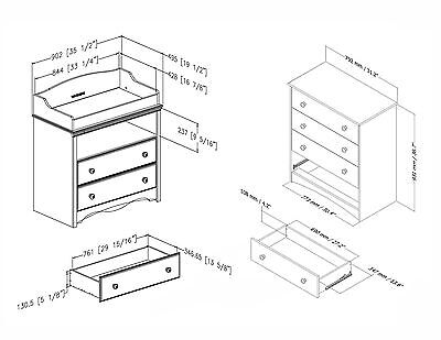 South Shore Furniture Angel Changing Table and 4-Drawer Chest Set Espresso (P...