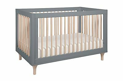 babyletto Lolly 3-In-1 Convertible Crib with Toddler Rail Gray/Washed Natural