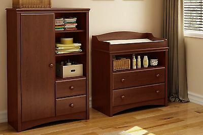 South Shore Furniture Sweet Morning Changing Table and Armoire with Drawers R...
