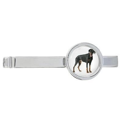 Doberman Dog Image Rhodium Plated Tie Clip in Gift Box