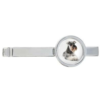 Schnauzer Dog Image Rhodium Plated Tie Clip in Gift Box