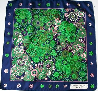 Charles Jourdan silk scarf -Blue / Green Daisy / Floral - 1980s - Small