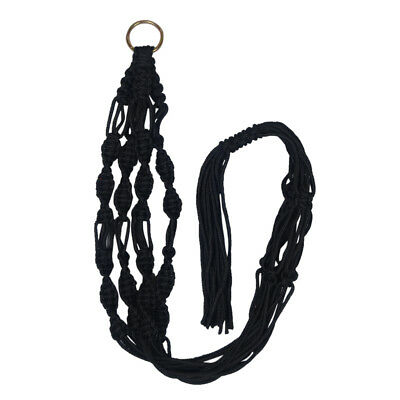 Plant Pot Hanger Macrame Jute Rope for In/Outdoor Ceiling Holder Black