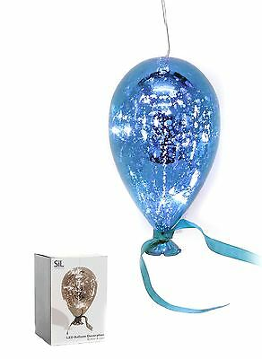 Large Hanging Crackle Glass Light Up LED Balloon Decoration 23x13cm ~ Blue