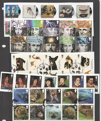 GB 2010 complete year-set of commemoratives 13 fine used sets of stamps on Piece