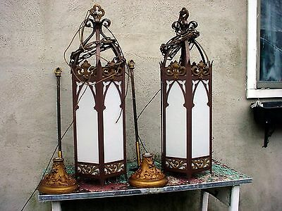 Vintage 2 matching Gothic Style HUGE Art Deco Gothic Church lights with extras