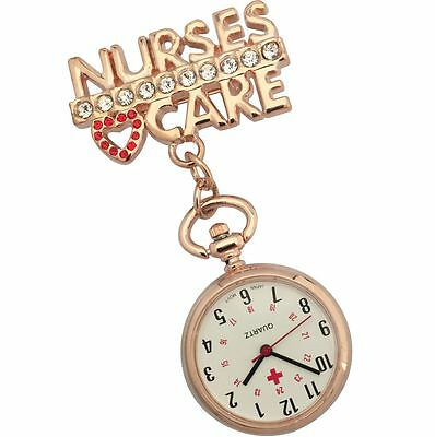First Hand Healthcare Pin Watch Therapist Nurse's Care Red Heart Rose Gold