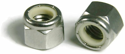Waxed Nylon Insert Lock Nut Nylock 18-8 Stainless Steel Hex Nuts #10-24 QTY 25