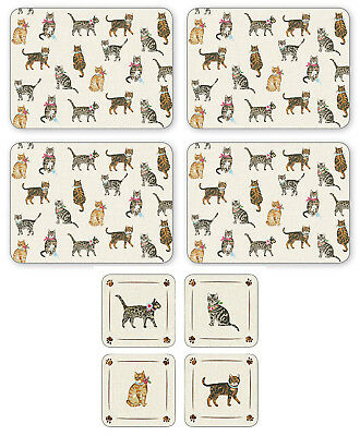 Cooksmart Cats On Parade Set of 4 Placemats & Coasters Table Mat Drink Dining