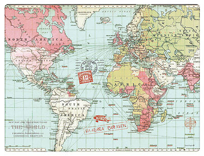 Voyager World Map Dining Tablemats Placemats Table Place Drink Food Mats Gift