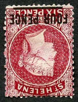 St Helena SG24y 4d Carmine wmk CC Inverted and Reverse Un-used (no gum)