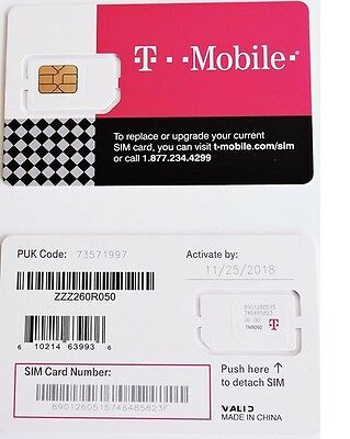New T-Mobile GSM 4G LTE TRIPLE CUT Sim Card Unactivated Standard / Micro / Nano