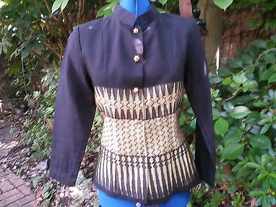 vintage jacket top gold black Siam Thailand XS  extra small