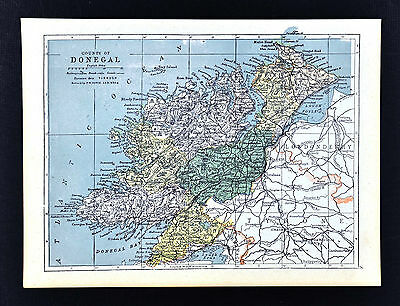 1900 Ireland Map - Donegal County - Ballyshannon Bundoram Londonberry Moville