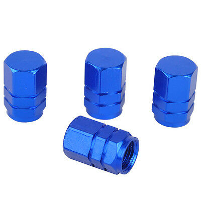 4PCS Aluminum Tire Wheel Rims Stem Air Valve Caps Tyre Cover Car Truck Bike Blue