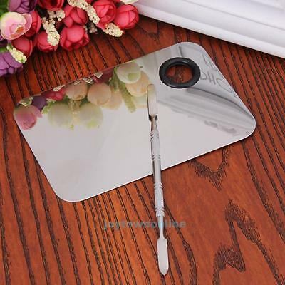 DIY Makeup Mixer Nail Art Polish Foundation Mixing Plate Spatula Stainless Steel