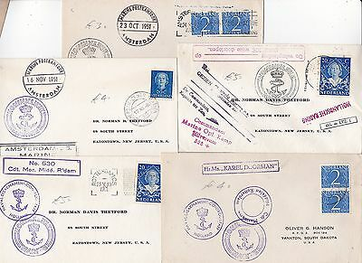 * 1951 x 5 NETHERLANDS MARITIME & SHIPPING COVERS NAMED SHIPS MANY CACHETS