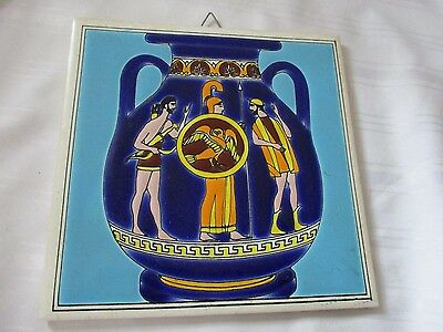 Smaltotechniki hand made Greek tile art cobalt blue urn sky blue background 6""
