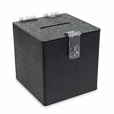Source One BLACK Cube Donation Box With HASP Suggestion Registration Raffle Bin