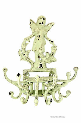 Antique-White Cast Iron Angel Distressed Wall Mount 6 Hook Swivel Coat Hanger