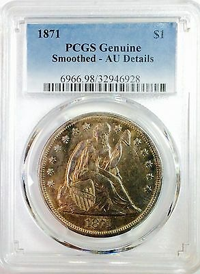 1871 Seated Liberty Silver Dollar $1 Coin - AU DETAILS PCGS