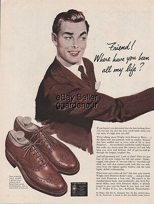 1951 E.T.Wright & Co Rockland MA Vintage 1950s Winged-Tip Oxford Men's Shoes Ad