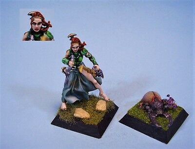 Confrontation painted miniature Female Shaman and Familiar