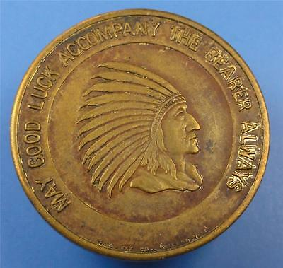 INDIAN CHIEF Good Luck Token-Medal / JOIE CHITWOOD AUTO THRILL SHOW 28mm ME3007