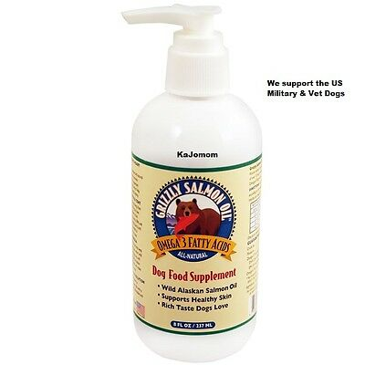 8 oz OUNCE GRIZZLY SALMON OIL DOG CAT FOOD SUPPLEMENT *FRESH* SEALED