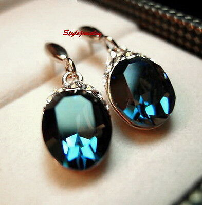Silver Blue Sapphire Oval Drop Dangle Earring Made With Swarovski Crystal IE62