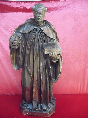 antique Wooden figure__St Antonius__Oak__UM 1800- 1850__80cm__Signed S.B.