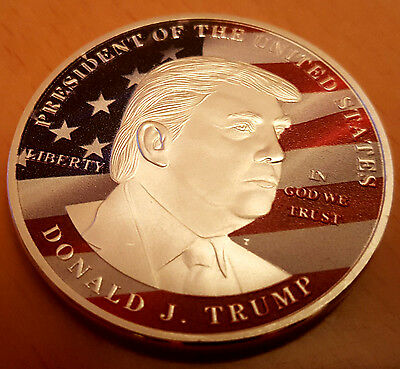PRESIDENT DONALD J TRUMP Silver Coin Make America Great Again USA Flag Liberty