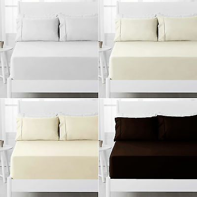 2 Pce 250TC Polyester Cotton FITTED Sheet + Pillowcase - KING SINGLE