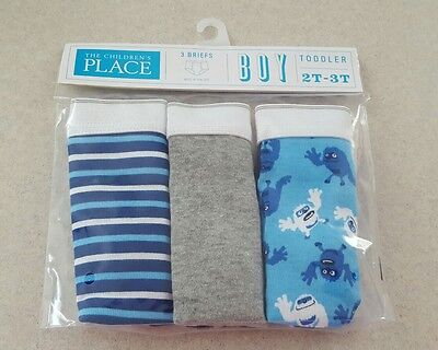 NWT Children's Place Boys 2T-3T / 4T-5T Briefs 3-PACK UNDERWEAR Blue Gray #26621
