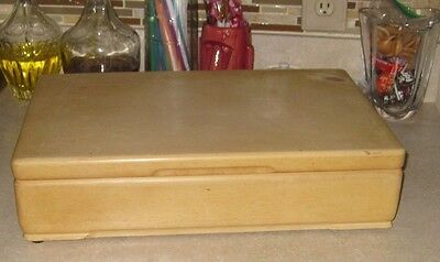 Silverware box wood blonde vintage  2 levels big flatware