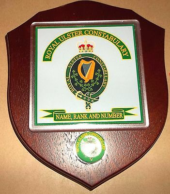 Royal Ulster Constabulary Veteran Wall Plaque with name rank& number