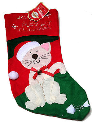 Pampered Puss Cat Christmas Stocking Have A Purfect Christmas Bnwt