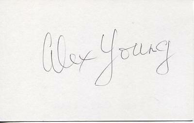 A 13cm x 7.5cm Plain White Card Signed by Alex Young. Everton, Hearts, Scotland.