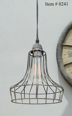 Industrial Pendant Light Old Cage Wire Skirt Antique Replica Factory Style