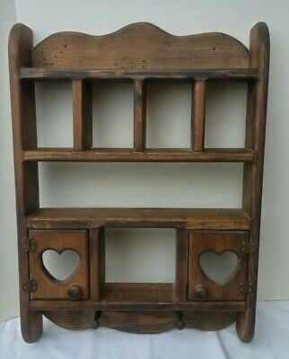 Vintage Wooden Curio Cabinet Heart Rack Display Shelf Decor Wood Wall Mount Home