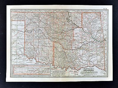 1913 Century Atlas Map Oklahoma Indian Territory Guthrie Cherokee Choctaw Nation