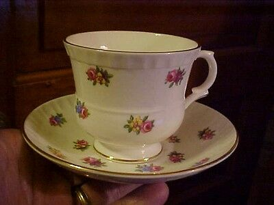 Crown Staffordshire  Bone China Cup & Saucer,  Tiny Florals & Roses