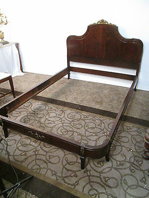00001 Mahogany Full size Bed with original wood side Rails