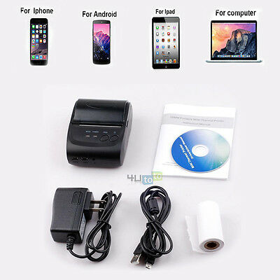 Portable Wireless 58mm Thermal Bluetooth Receipt Printer For Android IOS PC Mac