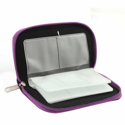 Nylon 22 Slots Storage Carrying Pouch Bag Box Purple for CF Micro SD Memory Card