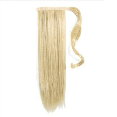"18"" Human Hair Clip In Wrap Around Pony Tail- Bleach Blonde 613"