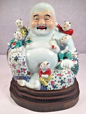 Antique Vintage Chinese Famille Rose Porcelain Happy Buddha With Children